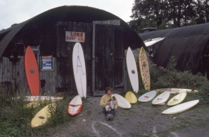 MY SURFBOARD FACTORY AT LOBB FIELD Nth DEVON ENGLAND,THATS BRUCE PALMER AND HIS DOG CLOE